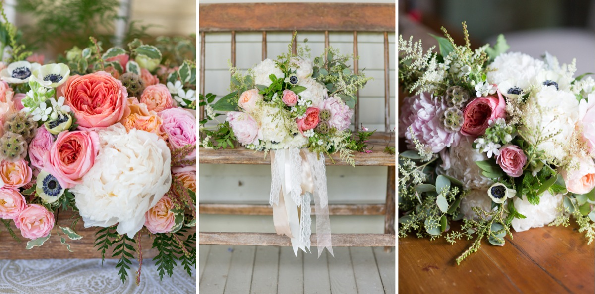 Photo triptych of floral arrangements by Emily Herzig